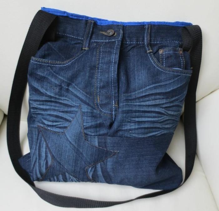 einfache bastelideen tasche nähen alte jeans wiederverwenden