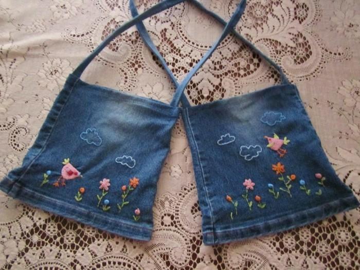 einfache bastelideen wiederverwendete jeans taschen