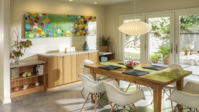 esszimmer landhausstil moderne akzente schöne muster texturen