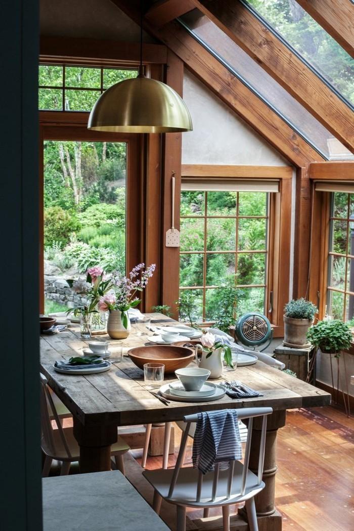 esszimmer landhausstil moderner look und schöne aussicht