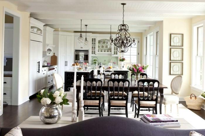 esszimmer landhausstil offener wohnplan weiße küchenmöbel