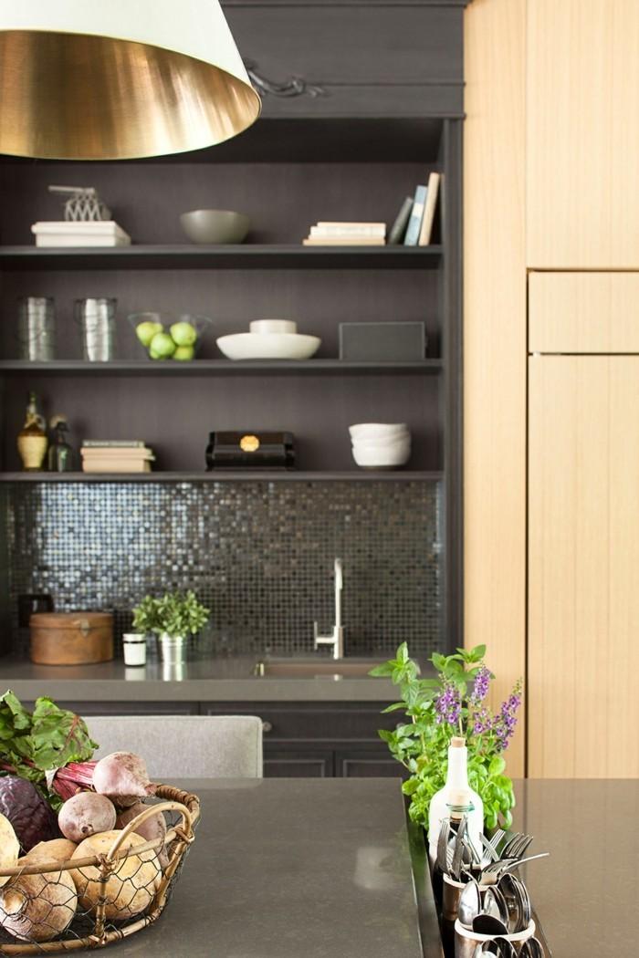 esszimmer landhausstil pflanzen küchenrückwand mosaik
