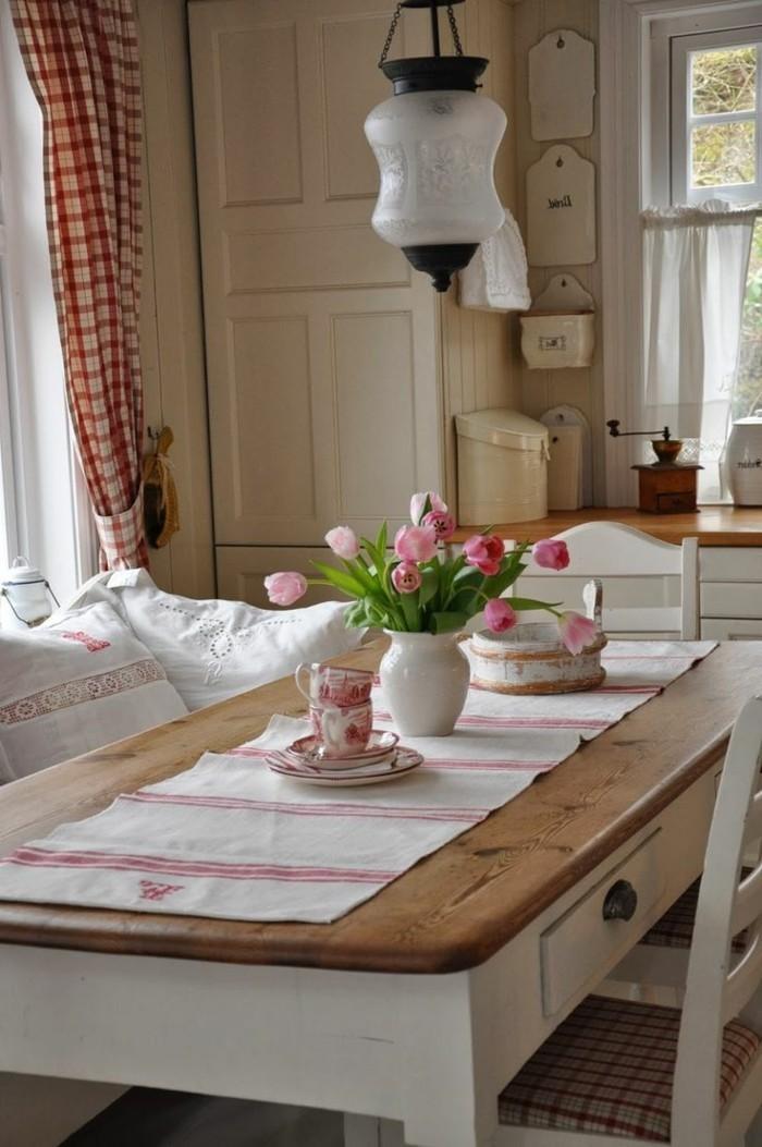 esszimmer landhausstil weiße möbel gardinen kariert