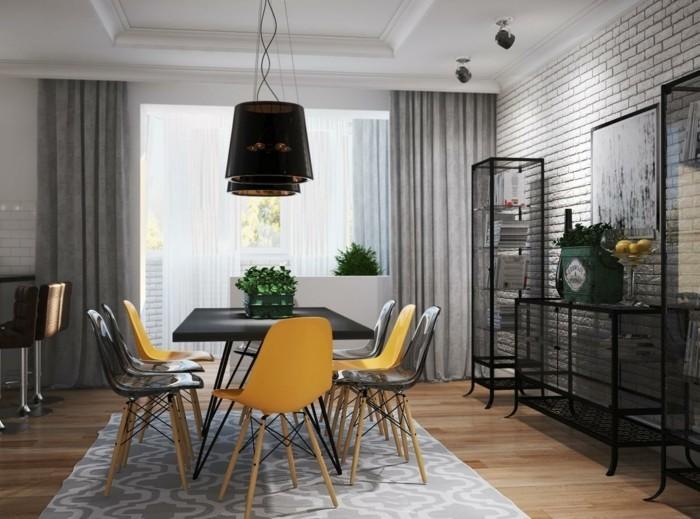 esszimmerstühle wohnideen einrichtungsbeispiele deko ideen nachhaltige mode gelb schwarz