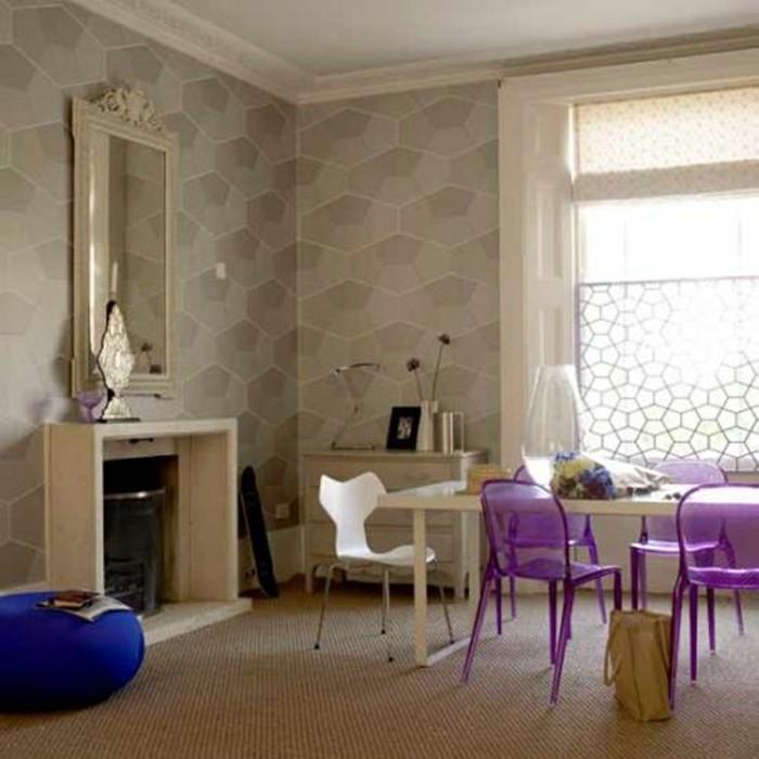 esszimmerstühle wohnideen einrichtungsbeispiele deko ideen nachhaltige mode lila