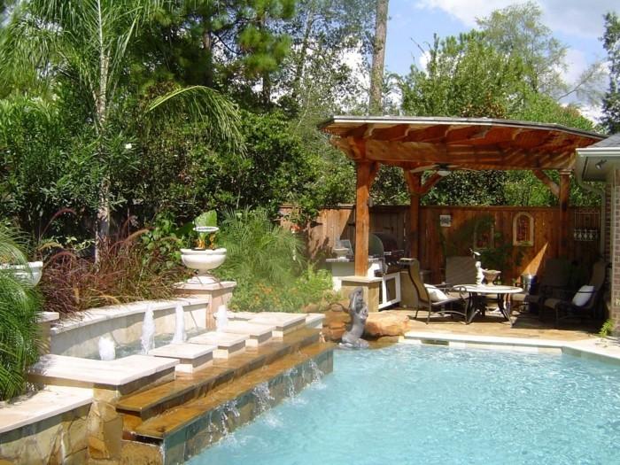 garten überdachung pergola schwimmbad pflanzen