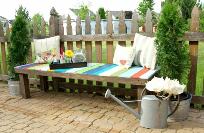Gartenideen Diy Außenmöbel Sitzbank Dekokissen