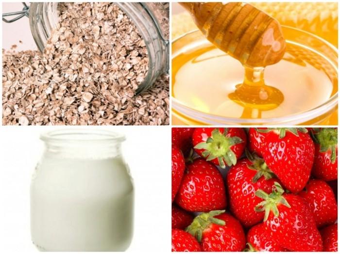 gesichtsmasken detox hautpflege erdbeeren milch honig haferflocken