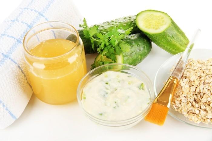 gesichtsmasken detox rezept gurken honig joghurt haferflocken