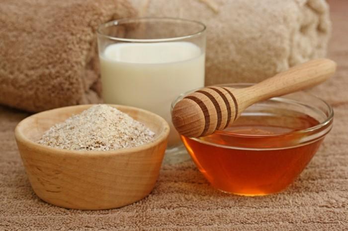 gesichtsmasken detox rezept haferflocken milch honig