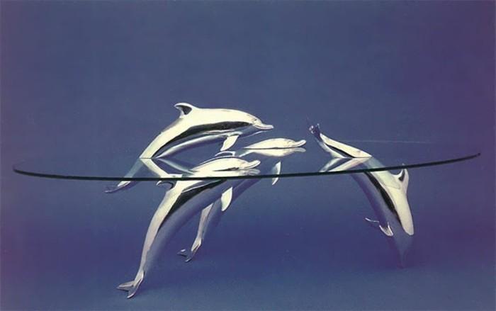 glastisch einrichtungsbeispiele deko Ideen derek pearce robben delphine