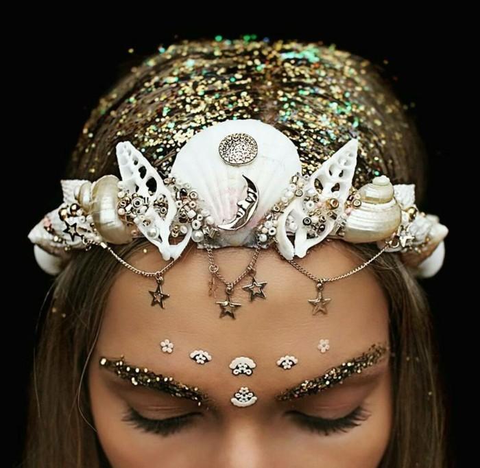 haarschmuck hochzeit goldene haare glitzer schnecken muscheln