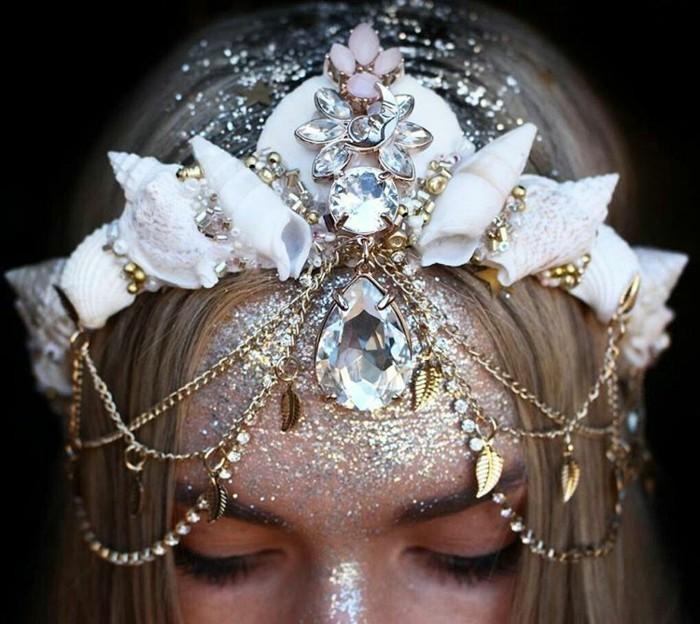 hochzeit schneckenhäuser gold kristalle glitzer