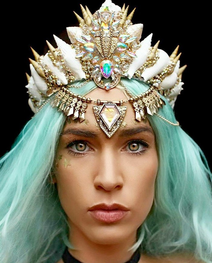 haarschmuck kopfschmuck hochzeit strasssteine blaue haare meerjungfrau