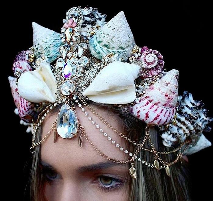 kopfschmuck juwele muscheln schneckenhäuser anhänger meerjungfrau
