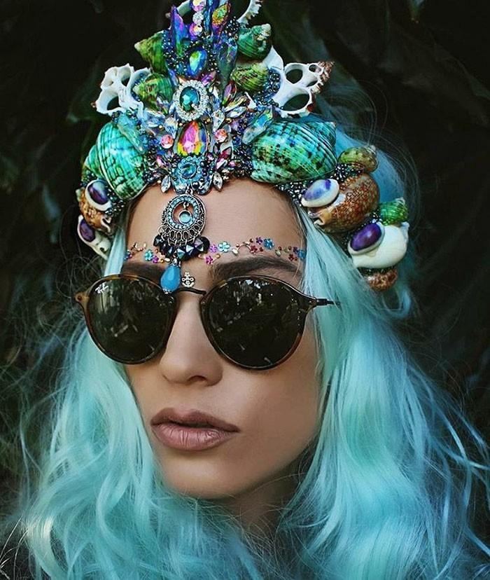 haarschmuck schneckenhäuser muscheln anhänger blaue haare