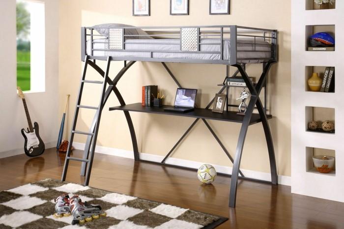 hochbett mit schreibtisch jungenzimmer gestalten ideen schöner teppich kariertes muster