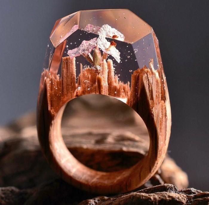 holzschmuck ring blumen sommermotive handmade accessoires