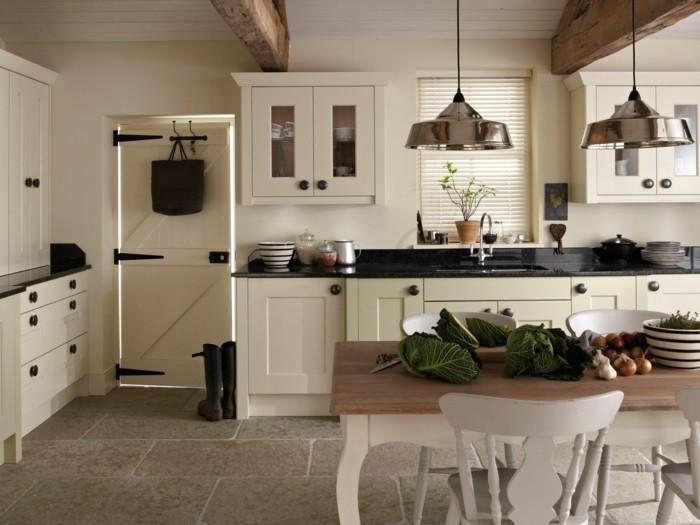 küche streichen bodenfliesen landhausstil gemütlich