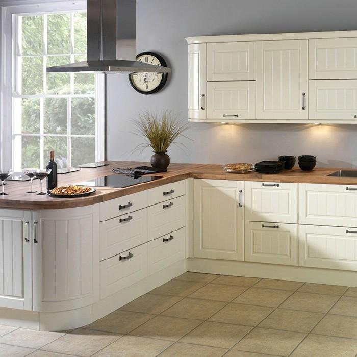 küche streichen ideen creme einrichtung bodenfliesen