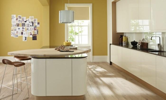 küche streichen creme einrichtung gelbe wände