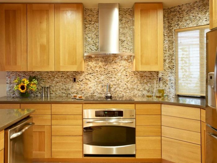 küche streichen creme farbnuancen mosaik sonnenblumen