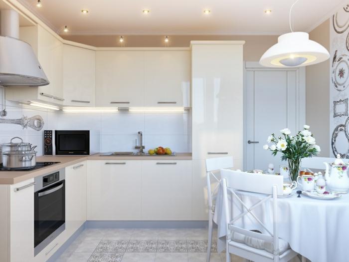 küche streichen creme kücheninsel bodenfliesen runder esstisch