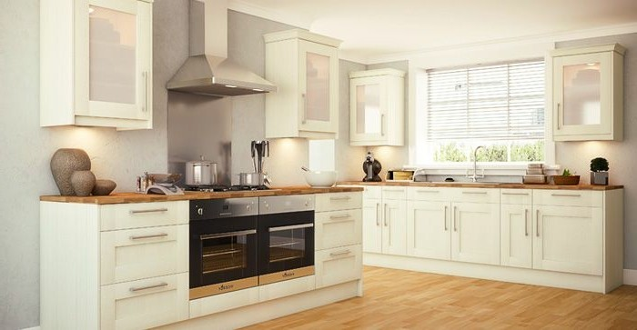 küche streichen ideen creme küchenschränke beleuchtung