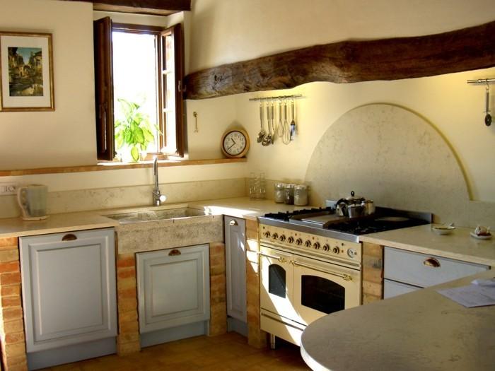 küche streichen ideen creme wände ziegel bodenfliesen