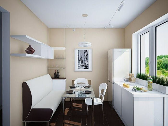 küche streichen ideen creme wandfarbe weiße möbel