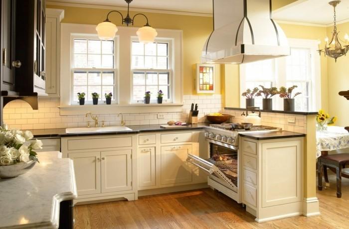 küchendesign in hellen farben cremefarbene küchenschränke und gelbe wandfarbe
