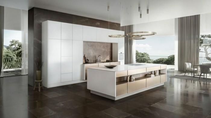 Küchenplanung Küchen Siematic Modernes Design Kücheneinrichtung  Granitfliesen Runde Pendelleuchten