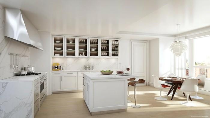 küchenplanung moderne kücheneinrichtung weiße schränke vitrine kücheninsel
