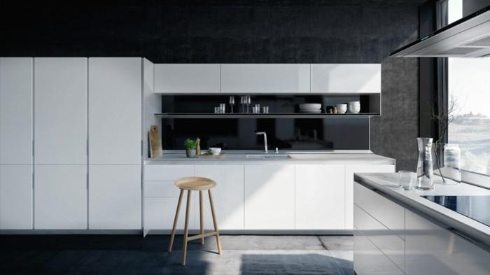 küchendesign modernes küchendesign weiße küchenmöbel betonwände