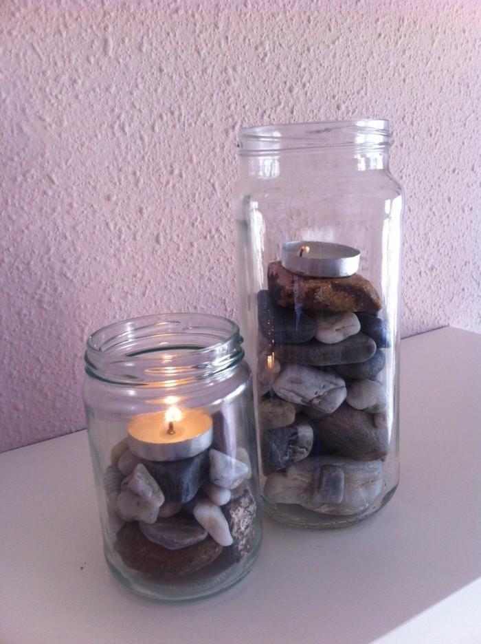 kerzenhalter basteln einmachgläser steine wohnideen