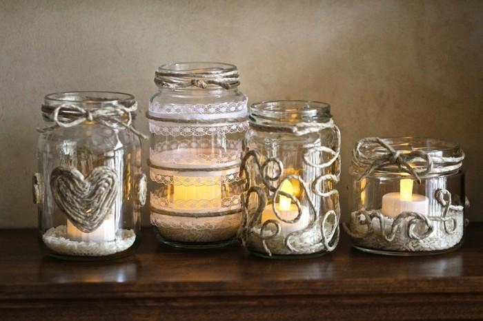 kerzenhalter basteln einmachglas dekorieren diy ideen