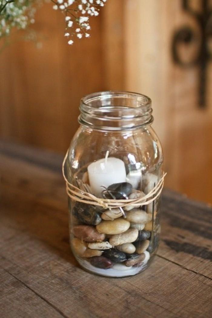 kerzenhalter basteln einmachglas steine