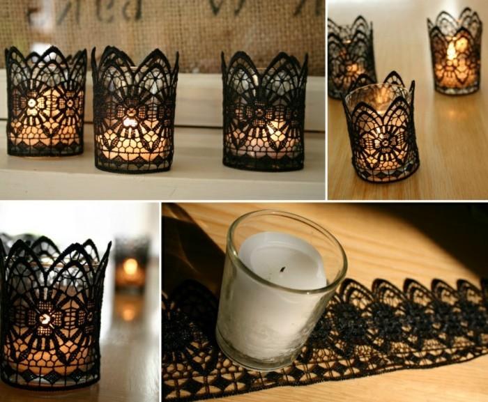 kerzenhalter basteln romantisch schwarz dekoriert