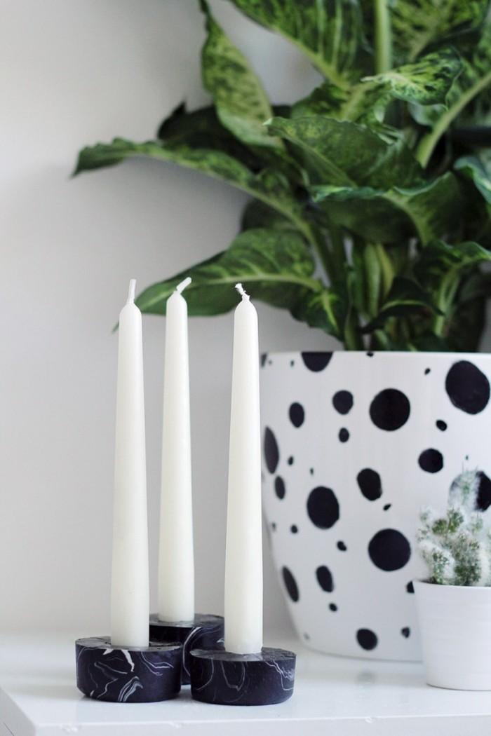 kerzenhalter basteln schwarz wohnaccessoires wohnung dekorieren