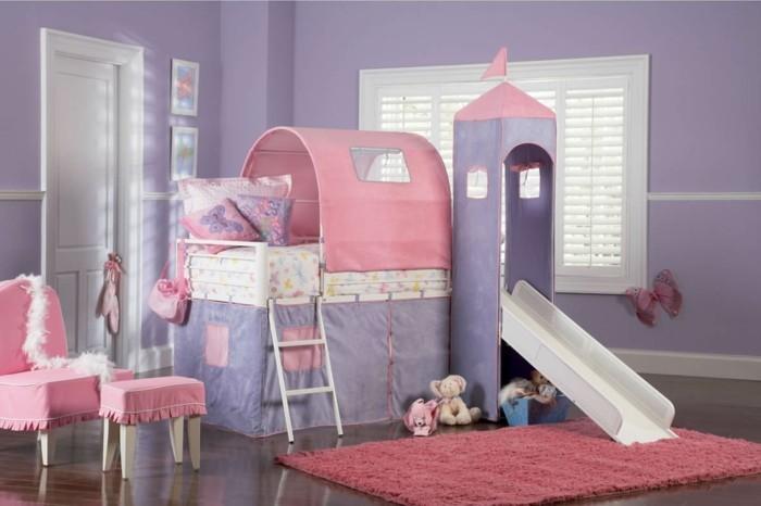 kinderhochbett kinderzimmer einrichten ideen rutsche rosa teppich
