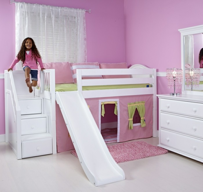kinderhochbett mädchenzimmer einrichten bett rutsche rosa wandfarbe