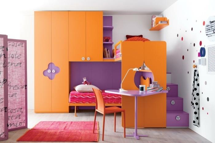 kinderhochbett orange lila kombinieren roter teppich
