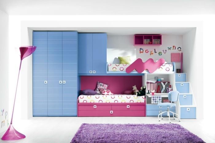 kinderhochbett schrank lila teppich mädchenzimmer einrichten
