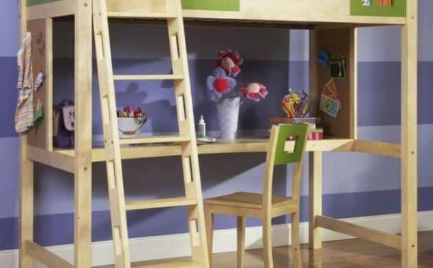 kinderhochbett-schreibtisch-wohnideen-kinderzimmer-holzmöbel