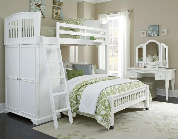 kinderhochbett weiße kindermöbel treppe florale muster