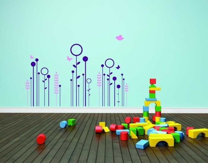 kinderzimmer deko ideen hellgrüne wand wanddeko wandsticker