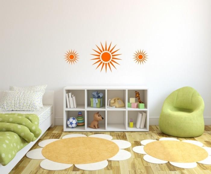kinderzimmer deko ideen orange wandtattoos teppiche blumen