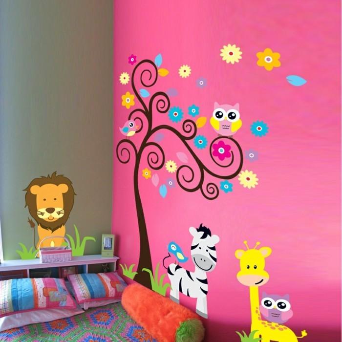 kinderzimmer deko ideen rosa wand farbige wandsticker