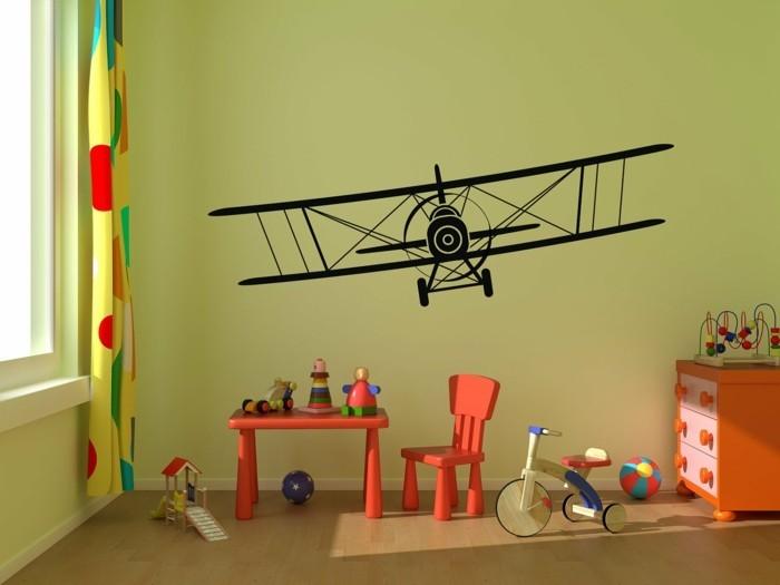 kinderzimmer deko ideen wandsticker flugzeug grüne wandfarbe