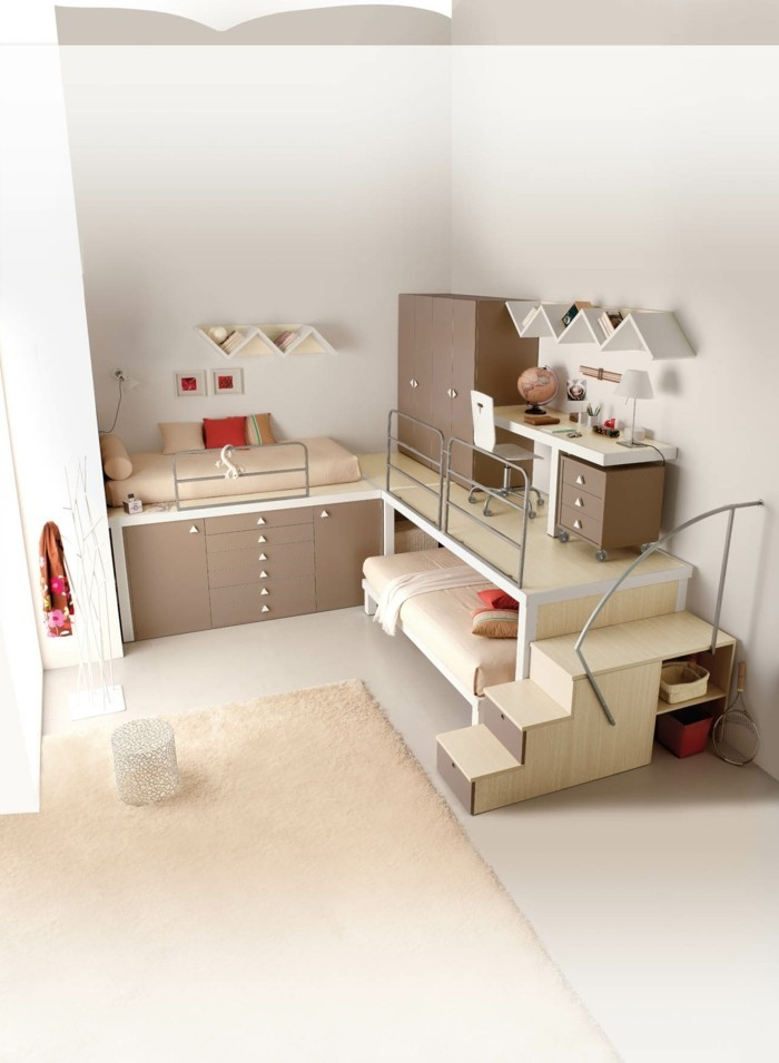 kinderzimmer hochbett beige schubladen heller teppich. Black Bedroom Furniture Sets. Home Design Ideas